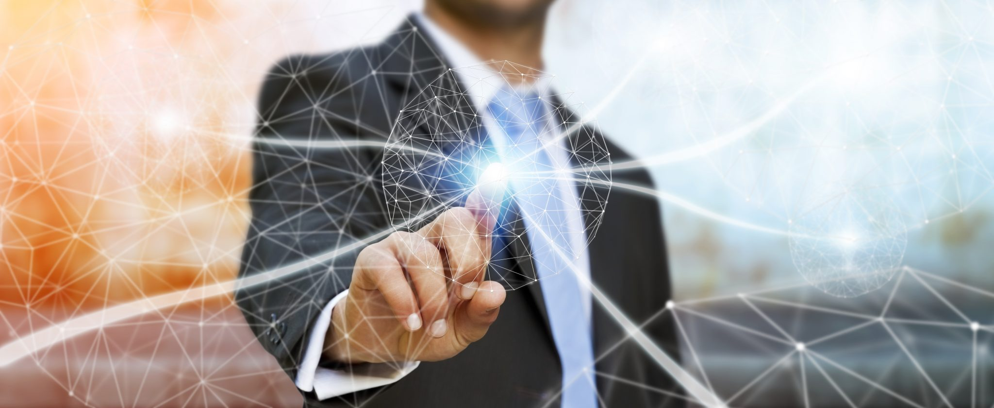 Businessman using data network